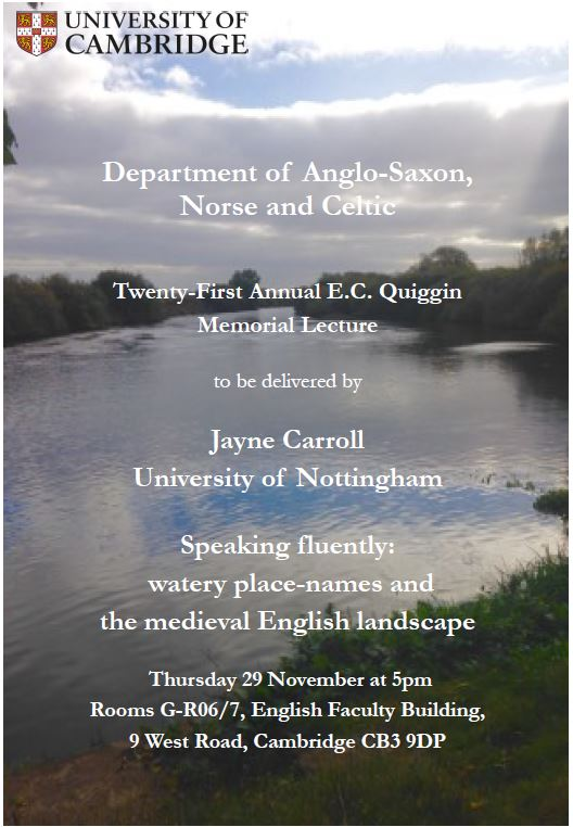 29 November 2018, Quiggin Memorial Lecture: Jayne Carroll (University of Nottingham)